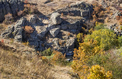 Deep quarry and river Stock Images
