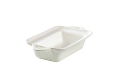 Deep rectangular white ceramic dish Stock Images