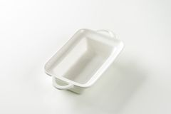 Deep rectangular white ceramic dish Royalty Free Stock Photography
