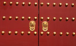 Deep Red Chinese Doors Stock Photo
