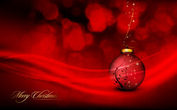Deep Red Christmas Greeting with Floral Globe Stock Image