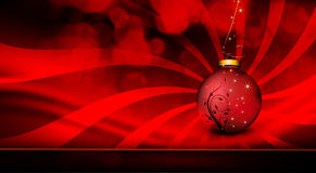 Deep Red Christmas Greeting with Floral Globe Stock Photography