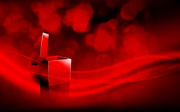 Deep Red Christmas Greeting with Open Box Royalty Free Stock Photo