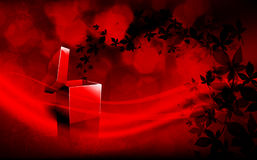 Deep Red Christmas Greeting with Spreading Leaves Royalty Free Stock Images