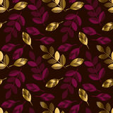 Deep red color decorative seamless pattern with gold elements. Stock Image