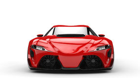 Deep red modern super sports car - front view Royalty Free Stock Image