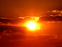 Deep red sunset Royalty Free Stock Images