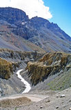 Deep river canyon in indian himalayas. Vertical photo of deep river canyon in indian himalayas Royalty Free Stock Photo