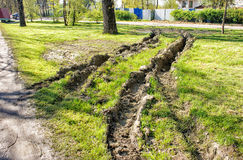 Free Deep Rut On The Lawn Stock Photos - 92421783