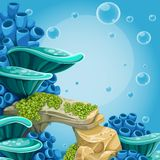 Deep sea blue background with actin and corals Stock Photo