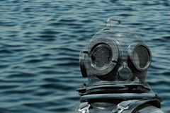 Deep sea diver. Foreground underwater stock images