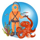 Deep sea diver in pressure suit holds sea devil fish and octopus. Deep sea diver in solid pressure suit holds European devil fishand octopus isolated cartoon Royalty Free Stock Photos