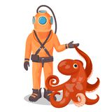 Deep sea diver in pressure suit holds sea devil fish and octopus. Deep sea diver in solid pressure suit holds European devil fish and octopus isolated cartoon Stock Image