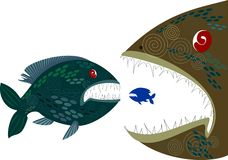 Deep-sea fish. Background with deep monsters fishes Stock Photos