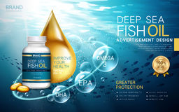 Deep sea fish oil. Contained in a bottle, water background 3d illustration Stock Photos