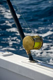 Deep sea fishing. Rod on boat with sea background Stock Photo