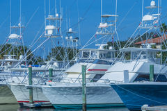 Deep Sea Fishing Boats. Closeup of ocean going deep sea fishing boats stock photography