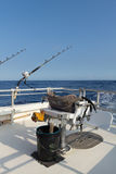 Deep sea fishing set up. Fighting chair and bucket set up and with fishing gear on offshore boat in Pacific Ocean Royalty Free Stock Photo