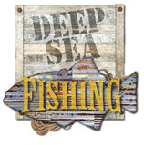 Deep Sea Fishing Sign Art. Deep Sea Fishing Sign Invitation Vintage Look with metal and wood background fish shape rope vector illustration