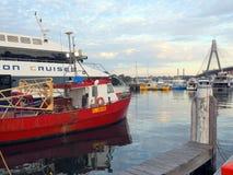 Deep Sea Fishing Trawlers Moored at Sydney Fish Markets, Australia. Deep sea fishing trawlers docked at Sydney Fish Markets, Blackwattle Bay, Pyrmont, Sydney Stock Photography
