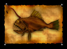 Deep-sea monster fish. On squared paper Royalty Free Stock Photo