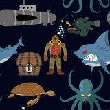 Deep sea seamless pattern. Diver and shark on black background. Royalty Free Stock Image