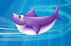 A deep sea with a shark. Illustration of a deep sea with a shark Royalty Free Stock Photos