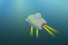 Deep Sea Underwater Sub Exploration Illustration. Illustration showing a deep sea submarine descending into the ocean on a dive to explore the depths below Royalty Free Stock Photography