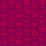 Deep seamless pattern with the cherry jam jars. Plain shadeless background with cherries for decoration or background. Endless texture, harvest background Stock Image