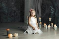 Deep sight eyes portrait of little girl royalty free stock photo