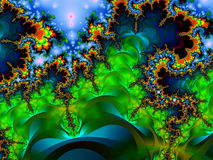 Deep Skies. Deep Night Skies Over A Fractal Garden royalty free illustration