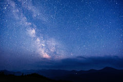 Deep sky astrophoto. Fantastic winter meteor shower and the snow-capped mountains royalty free stock photography