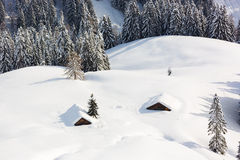 Deep snow in Alps, Berchtesgaden, Bavaria, Germany Royalty Free Stock Image