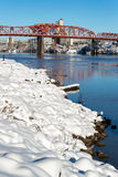 Deep Snow and Broadway Bridge Royalty Free Stock Images