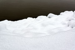 Deep Snow on a Riverbank Royalty Free Stock Image