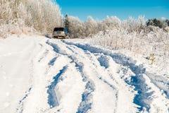 Deep snow road Stock Photos