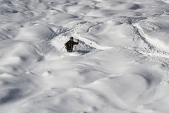 Deep snow skiing Stock Photo