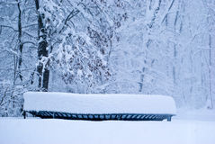 Deep Snow on trampoline Royalty Free Stock Photography