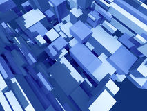 Deep solid structure. Infinite random blue boxes - digital 3d artwork Royalty Free Stock Photography