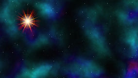 Deep Space. Illustration of Deep Space With Coloured Nebula and Flare Stock Photos