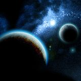 Deep space. Illustration of a planet and its moon Royalty Free Stock Photography