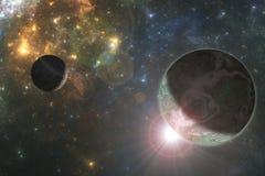 Deep space alien planet. Fantasy astro 3D illustration Stock Image