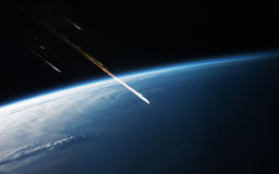 Deep space art. Awesome for wallpaper and print. Elements of this image furnished by NASA. Meteor shower. Elements of this image furnished by NASA Royalty Free Stock Photography
