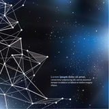 Deep Space background with abstract lines and triangles. Univers. E template, with space for your text Royalty Free Stock Photos