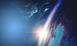 Deep space beauty. Planet orbit. stock photography