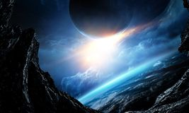 Deep space beauty. Planet orbit. royalty free stock photography
