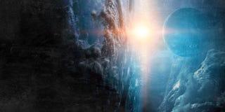 Deep space beauty. Planet orbit. stock photo