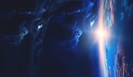 Deep space beauty. Planet orbit. stock image