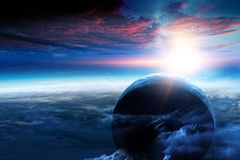Deep space beauty. Planet orbit. royalty free stock images