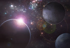 Deep space exoplanet illustration Stock Images